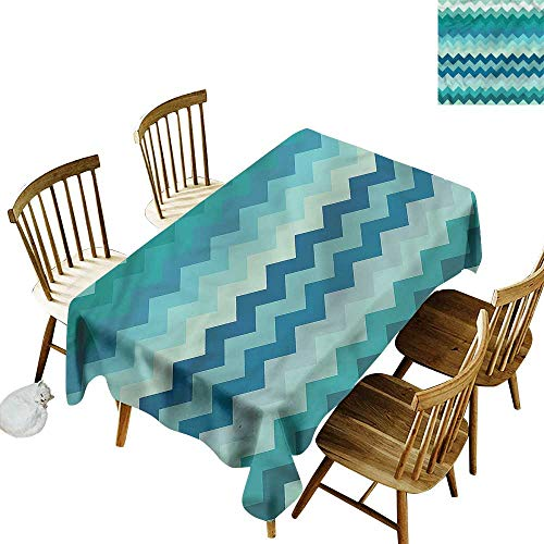 """home1love Waterproof Table Cover Chevron Wavy Lines in Blue Shades Modern Minimalist 60"""" W x 84"""" L"""