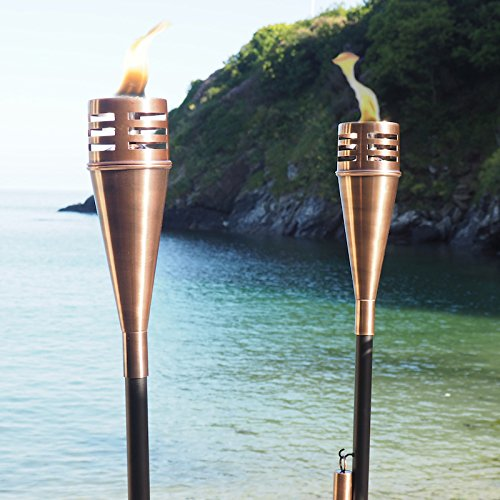 Garden Oil Torch Aged Copper - Outdoor Oil Torches - Path Burner Patio Lamp Lighting- 8.5 x 8.5 x 148cm Za Za Homes