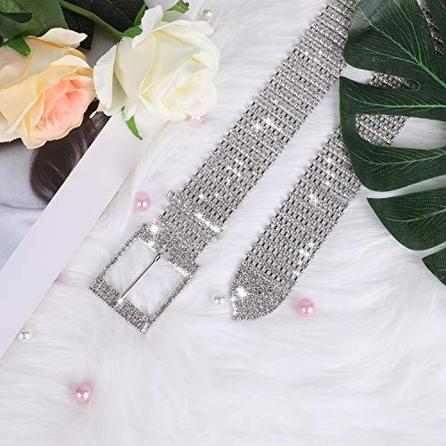 Women Rhinestone Chain Waist Belt,JASGOOD Party Club Sparkle Waistband,Silver Shiny Crystal Belts for Dress