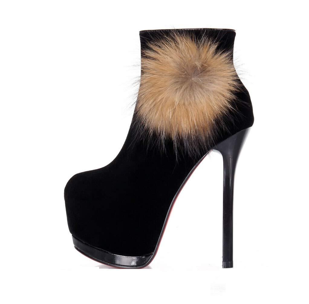 LIANGXIE Frauen Pump Knöchel Plattform Pump Frauen Party Kleid High Heel Herbst und Winter 14 cm Super High Heel Warme Stiefel Wasserdichte Pelz High Heel Damenschuhe dcb843