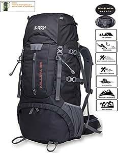 TERRA PEAK Backpacking Backpack Hiking Backpack Internal Frame Backpack Backpacks for Travel 65L+20L Black Graphite
