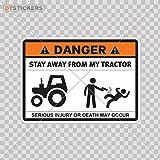 Decal Humor Danger Stay Away From My Tractor Car window jet ski (6 X 4,30 In. ) Fully Waterproof Printed vinyl sticker