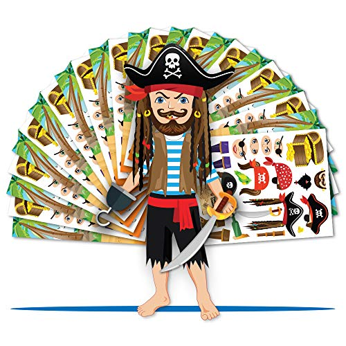 Colonel Pickles Novelties Pirate Party Supplies - Make A Pirate Sticker Kits - Kids Crafts & Favors