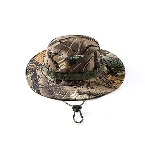 Tkas Sun Hat Bucket Hat Boonie Hat Camouflage Camo Hat Safari Fishing Hunting Military Outdoor UV Protection Summer Cap (Green-Leafy-Camo)