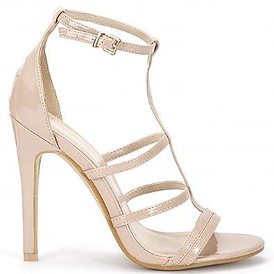 Señoras Desnudas Tobillo Strappy Correa Abierta Stiletto Tacones Zapatos UK8/EURO41/AUS9/USA10 oKuHNI3