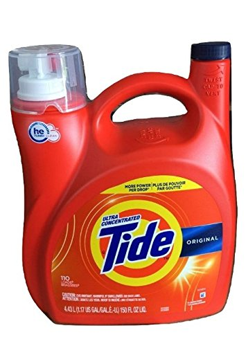 - Tide Original 037000777335 High Efficiency Laundry Detergent 150 Oz / 4.43L Mega Value Size -110 Loads (2x Ultra Concentrated) More Power Per Drop