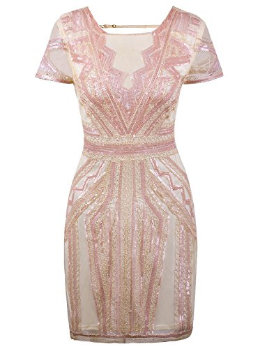 Vijiv Flapper Dresses 1920s Gatsby Art Deco Sequin Inspired Style Party Homecoming Dress Beige Pink L