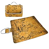 YZGO Grunge Marine Vintage World Map Picnic Mat Waterproof Beach Blanket Tote Handy Moisture-proof Rug Pads for Travel Camping Hiking Outdoor Activities,58''x56''