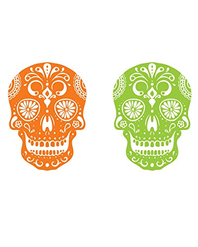 Halloween Sugar Skull Decor Temporary Tattoo - Cute Realistic Day of the Dead Body Art Stickers for Men, Women, Boys and Girls - Set of 4 Cool Removable Dia de los Muertos Tattoos Prints, 1.25