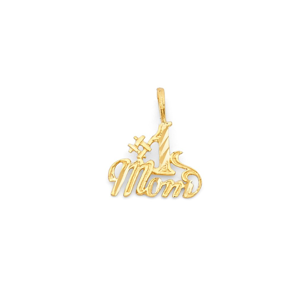 15mm x 13mm Million Charms 14k Yellow Gold Small//Mini Mom Charm Pendant with 18 Rolo Chain