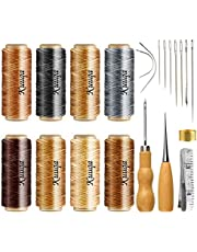 KUUQA 21 Pieces Leather Waxed Thread with Leather Craft Hand Tools Kit for DIY Sewing Craft