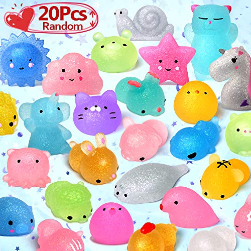 LUDILO Mochi Animal Squishies Toys 2nd Generation Glitter Mochi Squishy 20pcs Random Kawaii Mini Squishies Party Favors for Kids Unicorn Cat Panda Class Prizes Birthday Gifts Stress Relief Toy