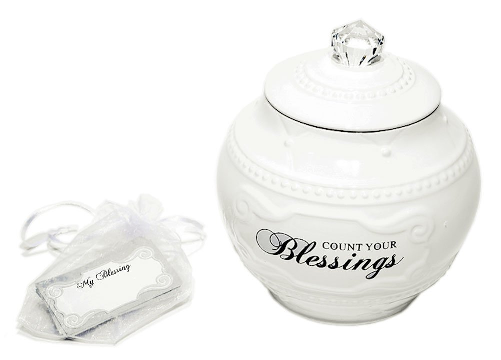 Young's Ceramic Blessing Jar with 36 Blessings, 6.75-Inch
