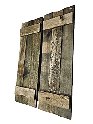 Rustic Decorative Barn Wood Shutter Set Of 2 For Wall Decor, Window Accents - Add That Touch of Barn Wood Style and Rustic Decor To Any Room - Great for Home Decor, Rustic Decor and Rustic Accents