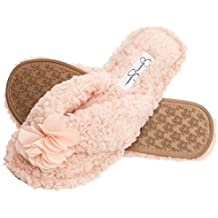 Jessica Simpson Plush Cozy Faux Shearling Thong Slide On Women's Slippers