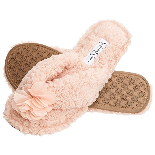 Jessica Simpson Plush Cozy Faux Shearling Thong Slide On Womens Slippers with Flowers (Size Large, Pink)
