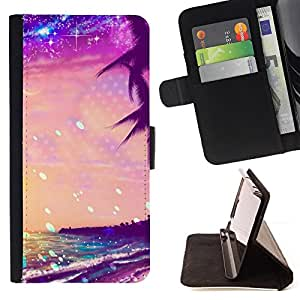 SEA STARS VIBRANT SUNSET SUMMER SUNSHINE/ Personalizada del estilo del dise???¡Ào de la PU Caso de encargo del cuero del tir????n del soporte d - Cao - For Samsung Galaxy S5 V SM-G900