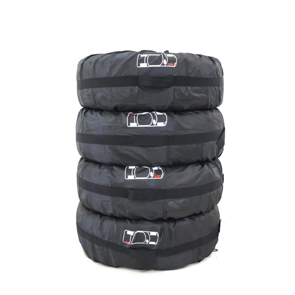 "210D Oxford Spare Wheel Storage Tote Bags Spare Tire Rim Covers Rain Resistant Tyres Tote Large Size Bag Wheel Protection Cover With Sturdy Handle Fit for 13/""19/"" Tyre Pack of 4 Black L 80CM//31 IN"