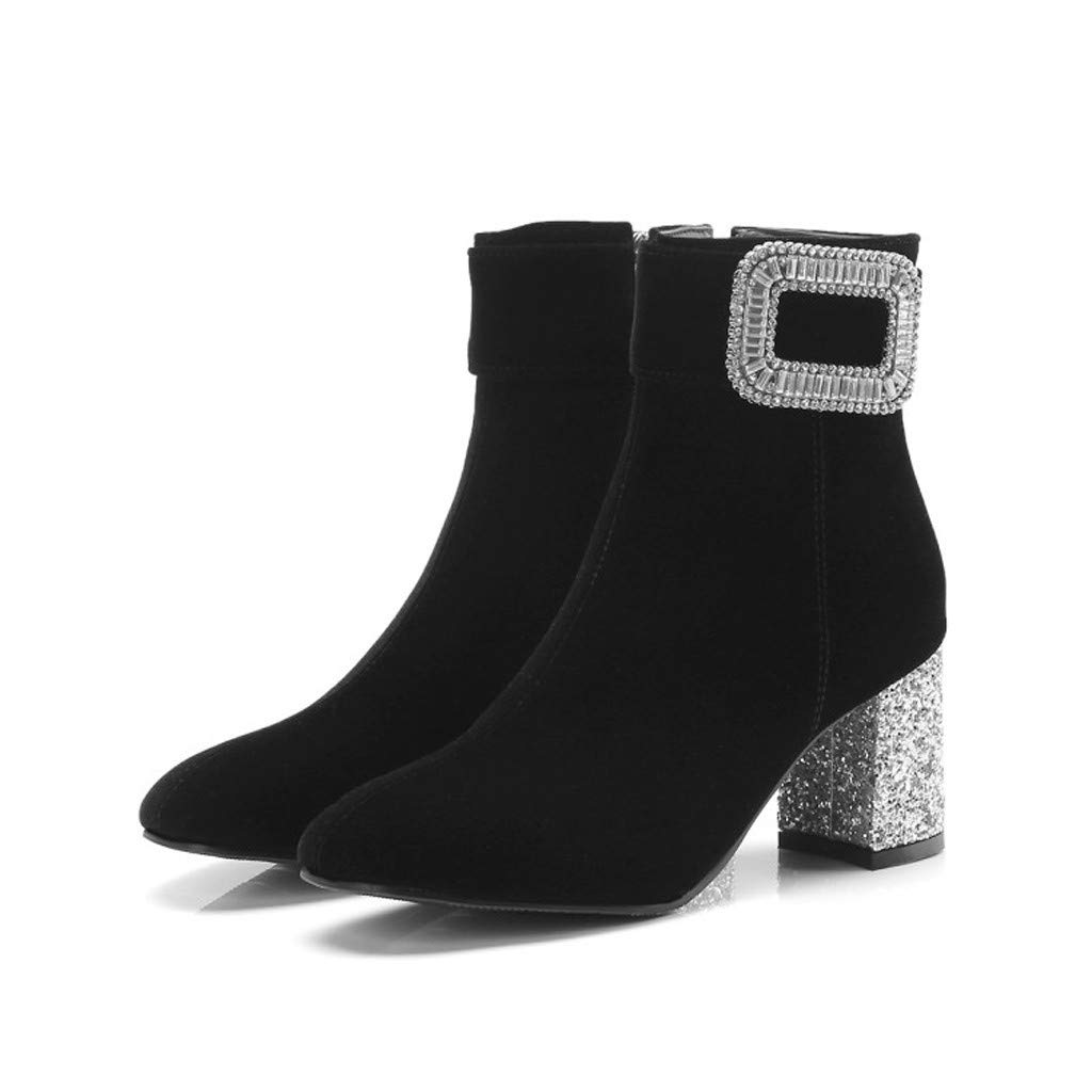 Xinantime Womens Elegant Rhinestone Buckle Boots Pointed Female Rough High Heels Shoes