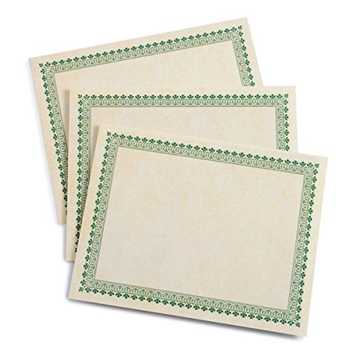 Green Border Paper Certificates - 100 CT ()