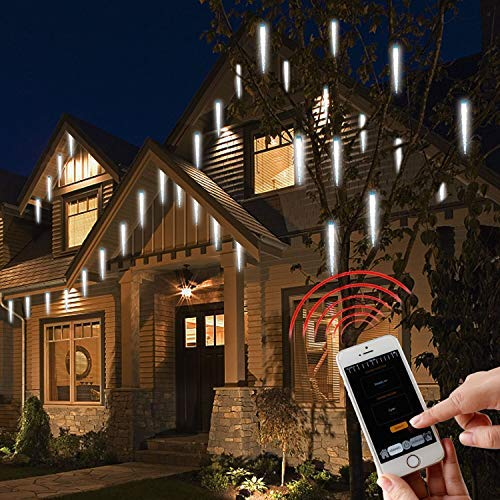 EAMBRITE APP Smart Bluetooth Light Working with Smart Phone, 20LT Real RGB Led Crystal Icicle Shape String Lights for Eave Roof Christmas Tree Deco Wedding Party Garden Outdoor Decor