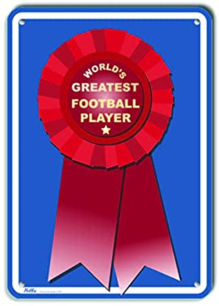 Worlds Greatest Blue PetKa Signs and Graphics PKWG-0088-NA/_10x14Worlds Greatest Football Player Aluminum Sign 10 x 14