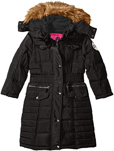 Weatherproof Big Girls' Long Bubble Coat, Black, 10/12 - Girls Long Winter Coat