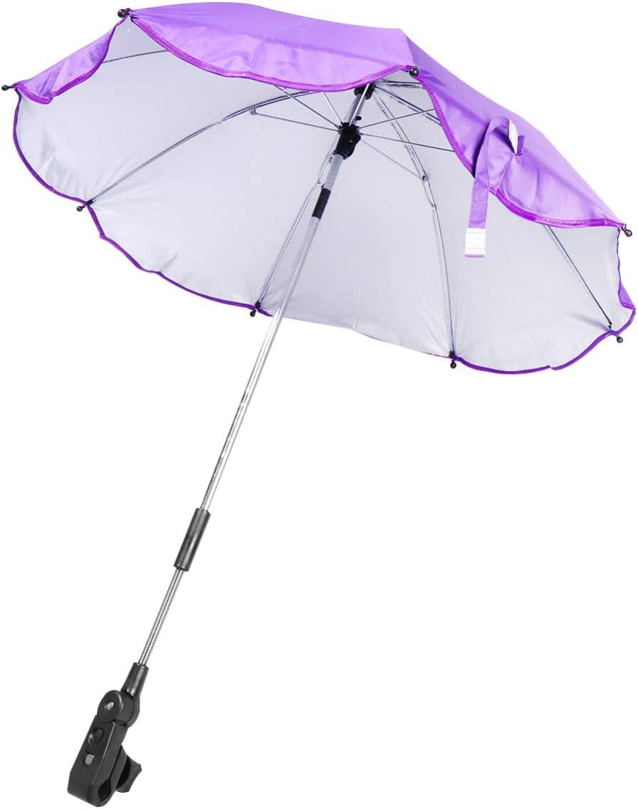 CLISPEED Baby Stroller Umbrella UV Rays Umbrella Rainproof Parasol Baby Cart Sun Umbrella for Outside Outdoor Car Rain Pink