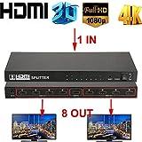 Ocamo Ultra HD 4K HDMI Splitter 1 in 8 Out 8 Port Repeater Amplifier Hub 3D 1080p US Plug