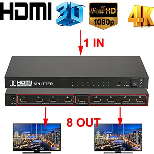 Ocamo Ultra HD 4K HDMI Splitter 1 in 8 Out 8 Port Repeater Amplifier Hub 3D 1080p US Plug