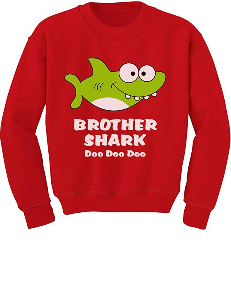 Tstars - Brother Shark Doo Doo Gift for Big Brother Toddler/Kids Sweatshirt GaMPM0tgf5