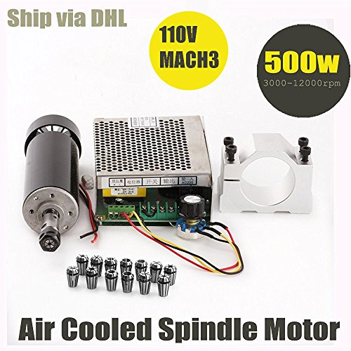 Konmison 1Set Mini CNC Lathe Air Cooled 500W Spindle Motor CNC 0.5KW with 52mm Clamps and 110V Mach3 Power Converter Spindle + 13pcs ER11 (Power Supply Cnc)