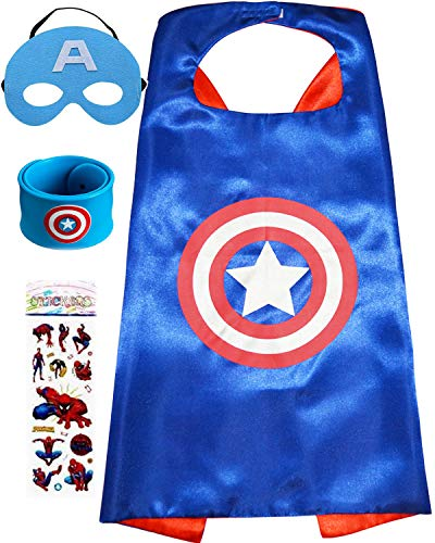 Superhero Dress Up Costume for Kids, Satin Cape and Felt Mask - Birthday Gifts for Boys Girls]()