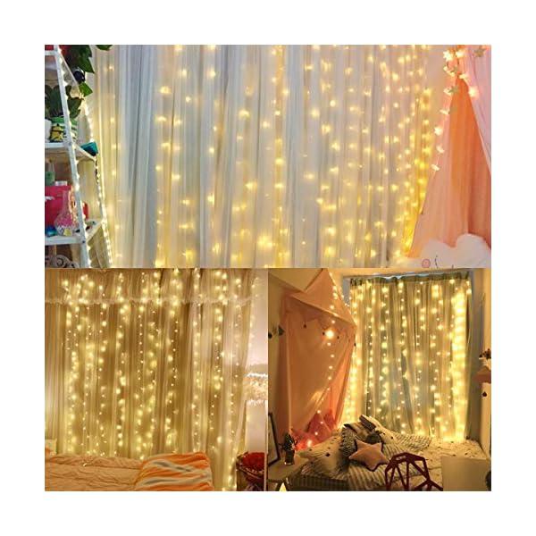 Tenda Luci LED, 300 LEDs Tenda luminosa 3x3m Natale Tenda Luci,Tenda luminosa Luci Cascata Impermeabile 8 Modalità Dimmerabile per Decorare Interni e Esterni Salotto Natale Matrimonio 5 spesavip