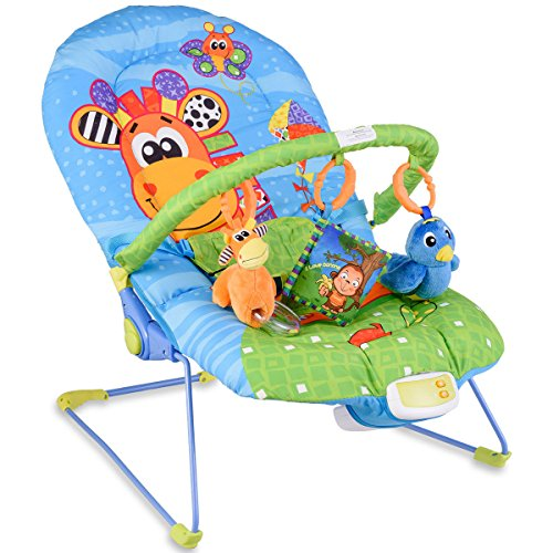 Costzon Baby Rocker Chair, Adjustable Reclining Chair with Music/Vibration Box/Toys, Baby Bouncer (Giraffe)