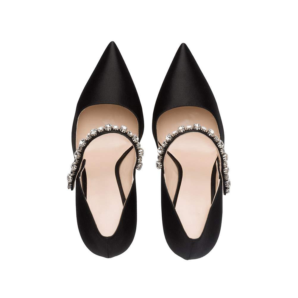 LYY.YY Frauen Spitze Spitze Spitze High Heels Mary Jane Strass Schnalle Einzelne Schuhe Gemütlich Abendessen Schuhe Braut Hochzeit Schuhe Anziehen (Absatzhöhe  10Cm) ced0b9