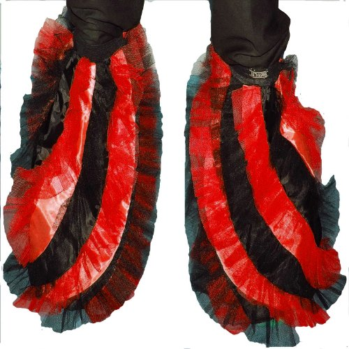 Steampunk Belly Dance Costume (Red Black Fluffy Tutu Twister Legwarmers Boot Covers Fancy Costumes Free Shipping USA)