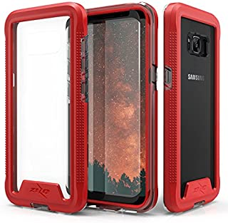 Zizo ION Series Compatible with Samsung Galaxy S8 Plus Case Military Grade Drop Tested with Tempered Glass Screen Protector RED Clear