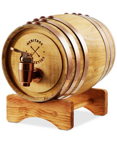 Wooden Whiskey Barrel Dispenser & Stand 1 Liter