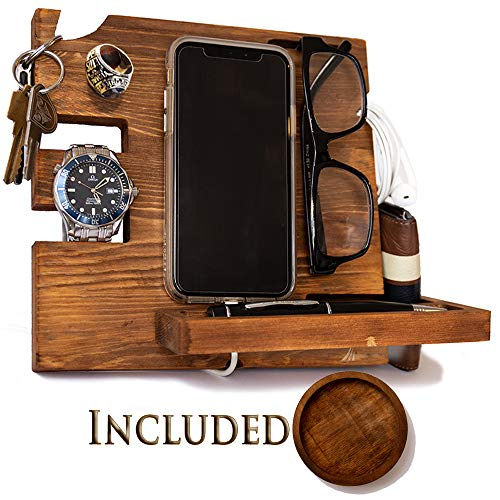 (Wooden Docking Station for Men and Women- Nightstand Organizer with Coaster - Charges Smartphone and Holds Keys, Watch, Wallet, Glasses, Ring, Pen, Coins, Mugs Varnish Finish by Peraco)