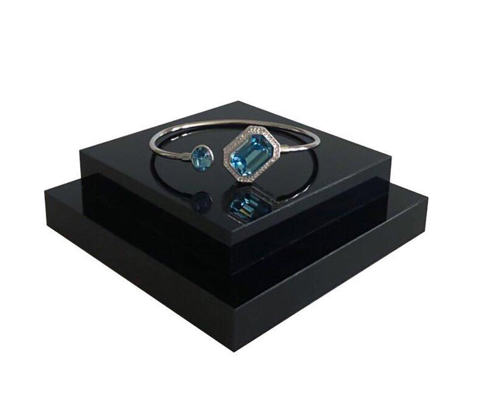 Fine Jewelry Display Platform Block Black Premium Acrylic Necklace Ring Earrings Precious Stones Photography Exhibition Art (Set of4) by Svea Display (Image #4)