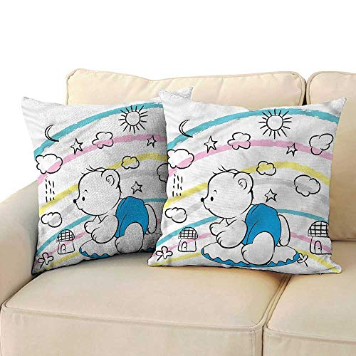 RuppertTextile Bear Breathable Pillowcase Cute Kids Themed Doodle Anti-Fading W14 x L14 ()