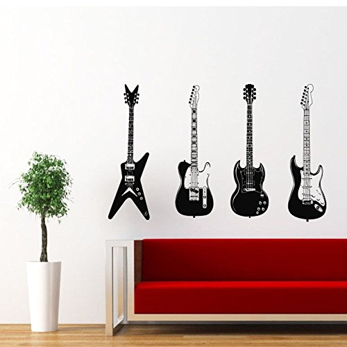 Four Guitars Musical Instrument Decor Recording Music Studio Wall