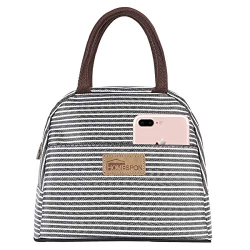 Buringer HOMESPON Insulated Lunch Bag Stripe Cooler Totes Reusable Food Container Box for Women and Men (Black White Strip, -