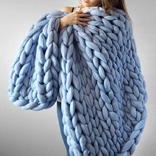 EASTSURE Chunky Knit Blanket Bulky Throw Merino Wool Hand Made Bed Sofa Throw Super Large,Sky Blue,47