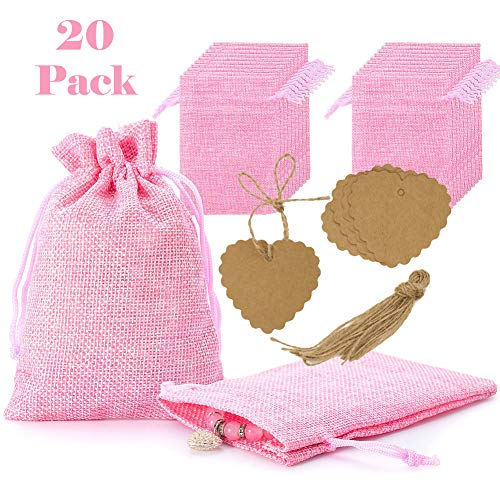 20Pcs Burlap Bags with Drawstring and Kraft Paper Tags, Pink Jute Hessian Gift Jewelry Pouches Packing Storage Linen Sacks for Wedding Bridal Shower Birthday Party Christmas Valentine's Day DIY Craft