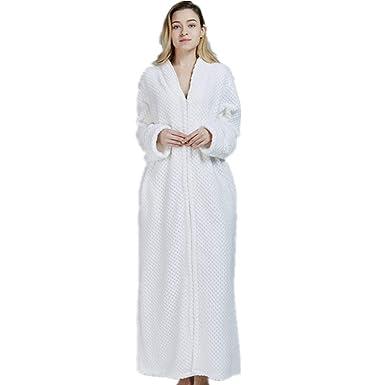 43ffcc507af16 Roiper Peignoir de Bain Femme Homme Longue, Hiver Soft Molleton Chemises de  Nuit Robe Peignoir