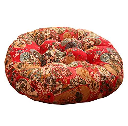Retro Thicken Cotton Linen Floor Pillow Cushion Futon Round