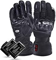 Heated Gloves for Men Women, LATIT Electric Battery Heated Ski Motorcycle Gloves Waterproof, Chargeable and Te