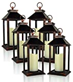 Banberry Designs Decorative Lanterns – Set of 6 Brushed Brass Decorative Lantern with a Flameless LED Pillar Candle and 5 Hour Timer – Outdoor Lighting – 13″ H Review